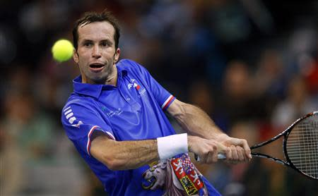 Czech Republic's Radek Stepanek returns the ball to Serbia's Dusan Lajovic during their Davis Cup World Group final tennis match in Belgrade November 17, 2013. REUTERS/Marko Djurica