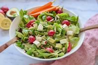 """<p>Passover is, among many things, a celebration of spring, much like this verdant, veggie-packed salad. <a href=""""https://www.thedailymeal.com/cook/spring-foods-in-season?referrer=yahoo&category=beauty_food&include_utm=1&utm_medium=referral&utm_source=yahoo&utm_campaign=feed"""" rel=""""nofollow noopener"""" target=""""_blank"""" data-ylk=""""slk:First-of-the-season asparagus, radishes and lettuce greens"""" class=""""link rapid-noclick-resp"""">First-of-the-season asparagus, radishes and lettuce greens</a> shine here. If fresh peas are already popping up near you, then use those instead of frozen ones. And feel free to omit the feta if the dairy doesn't fit in with your kosher meat meal.</p> <p><a href=""""https://www.thedailymeal.com/best-recipes/spring-green-asparagus-salad?referrer=yahoo&category=beauty_food&include_utm=1&utm_medium=referral&utm_source=yahoo&utm_campaign=feed"""" rel=""""nofollow noopener"""" target=""""_blank"""" data-ylk=""""slk:For the Spring Green Salad with Asparagus recipe, click here."""" class=""""link rapid-noclick-resp"""">For the Spring Green Salad with Asparagus recipe, click here.</a></p>"""