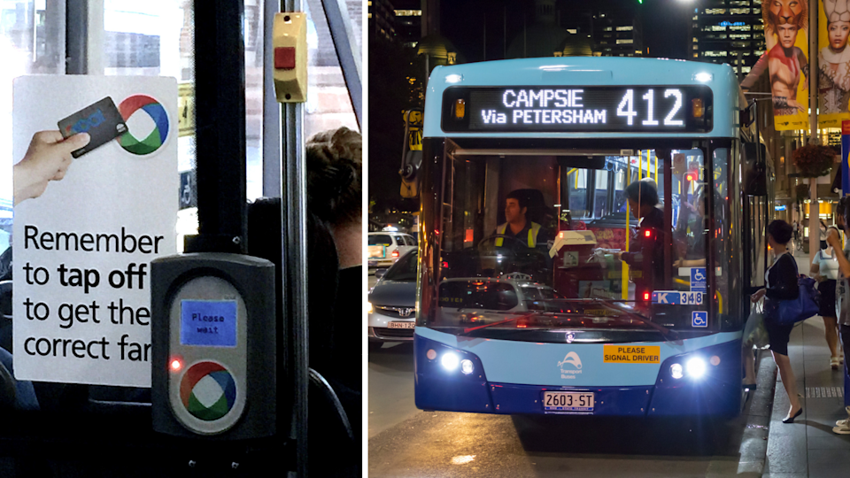 Pictured: Sign reminding Sydney commuters to tap off using Opal Card and Sydney bus. Images: Getty