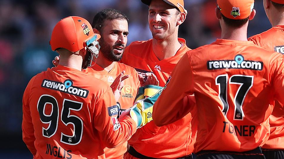 Fawad Ahmed, pictured here in action for the Perth Scorchers in the Big Bash League.