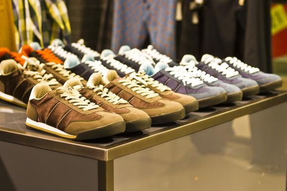 Shoes displayed for sale.