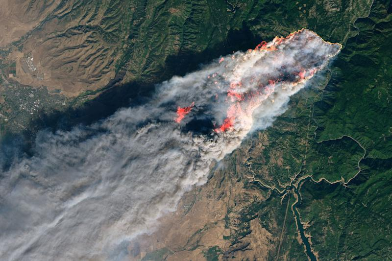 NASA's Operational Land Imager satellite image shows the Camp Fire burning near Paradise, California, on Nov. 8, 2018. (Photo: NASA/Reuters)