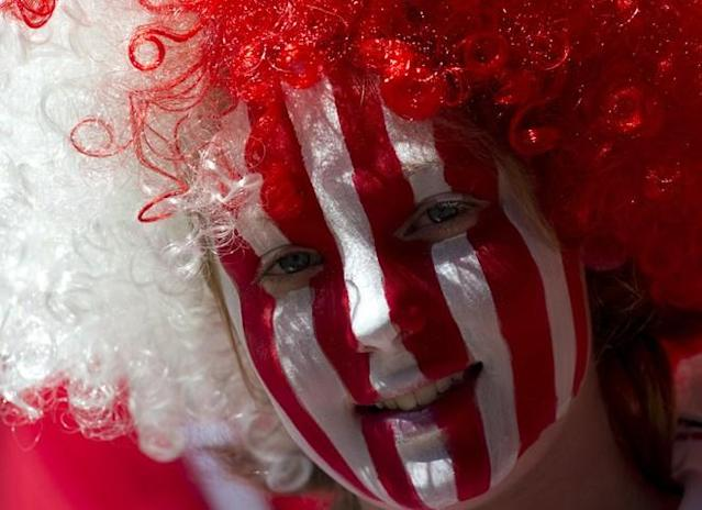 A Sheffield United fan looks on during the game against Huddersfield Town during the League 1 Play-Off Final football match between Huddersfield Town and Sheffield United at Wembley Stadium in London on May 26, 2012. AFP PHOTO / ADRIAN DENNISADRIAN DENNIS/AFP/GettyImages
