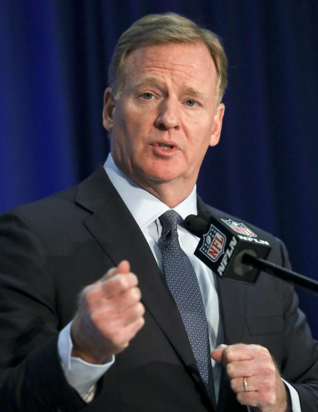NFL commissioner Roger Goodell speaks during a press conference after the NFL owners meetings, Wednesday, Oct. 17, 2018, in New York. (AP Photo/Bebeto Matthews)