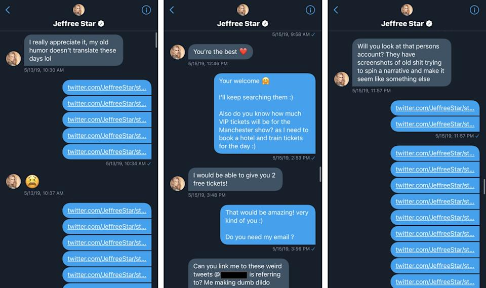 DMs sent between Star and his 20-year-old fan include Star giving him instructions to monitor other Twitter accounts.