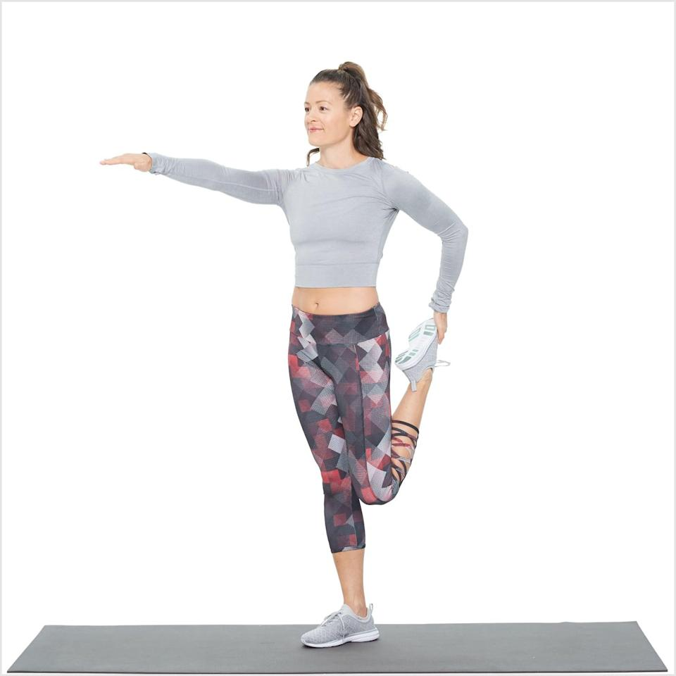 <p>Dr. Hwang recommended this as one of the best stretches you can do before walking. It targets your quadriceps muscle on the front of your thigh.</p> <ul> <li>Start standing with your feet together and knees touching. If you need help balancing, hold a chair or wall for support.</li> <li>Bend your left leg to bring your left foot up behind you, then grab your foot with your left hand and gently pull it toward your butt. Keep your chest lifted and core tight. Don't worry about how close your foot is to your butt; focus on the stretch on your left quad.</li> <li>Hold for a few seconds, then release your left foot with control and place it on the floor.</li> <li>Take a step forward and switch, repeating on your right leg.</li> </ul>