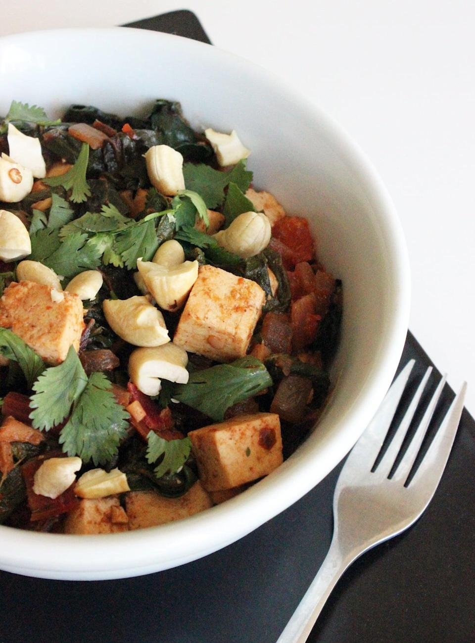 """<p>After a long day, a bowl of Indian-spiced chard served alongside a whole-wheat pita or rice will fill you up.</p> <p><strong>Get the recipe:</strong> <a href=""""https://www.popsugar.com/fitness/Healthy-Indian-Tofu-Curry-5477629"""" class=""""link rapid-noclick-resp"""" rel=""""nofollow noopener"""" target=""""_blank"""" data-ylk=""""slk:Indian-spiced chard"""">Indian-spiced chard</a></p>"""