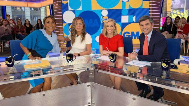PHOTO: Jennifer Aniston and Reese Witherspoon appear on ABC's 'Good Morning America' with Robin Roberts and George Stephanopoulos, Oct. 28, 2019 (ABC)