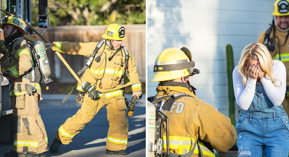 The firefighter staged a fire then proposed to his girlfriend. [Photo: SWNS]