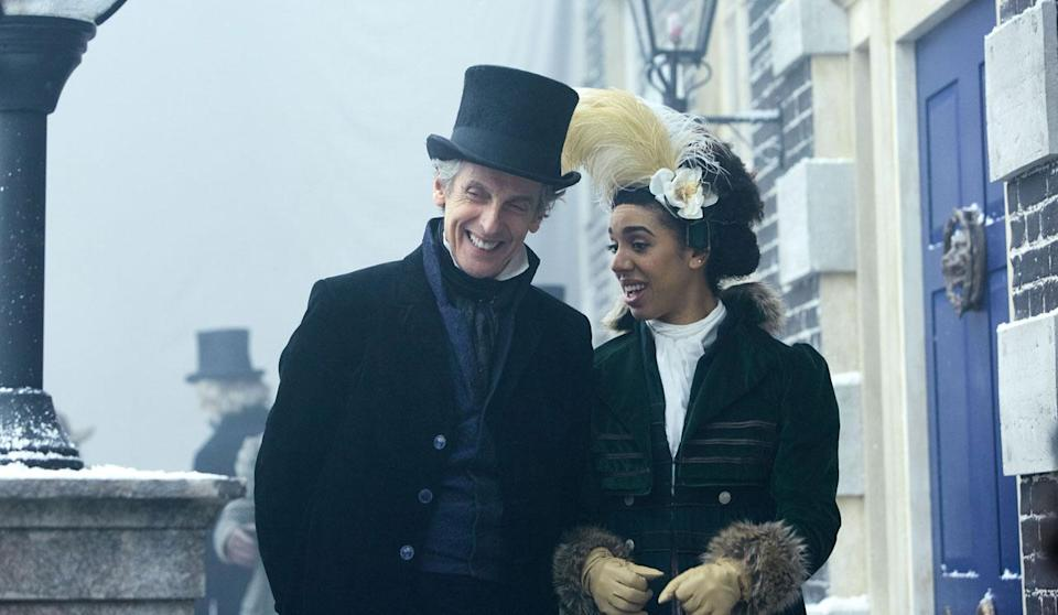 Twelfth Doctor and Bill walk at frost fair