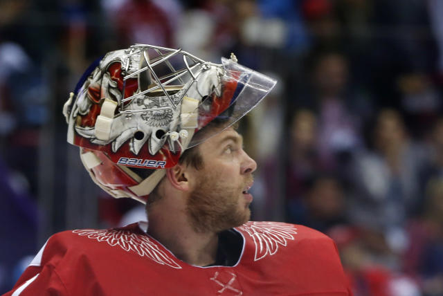 Russia goaltender Semyon Varlamov reacts after a second period goal by Finland during a men's quarterfinal ice hockey game at the 2014 Winter Olympics, Wednesday, Feb. 19, 2014, in Sochi, Russia. (AP Photo/Julio Cortez)