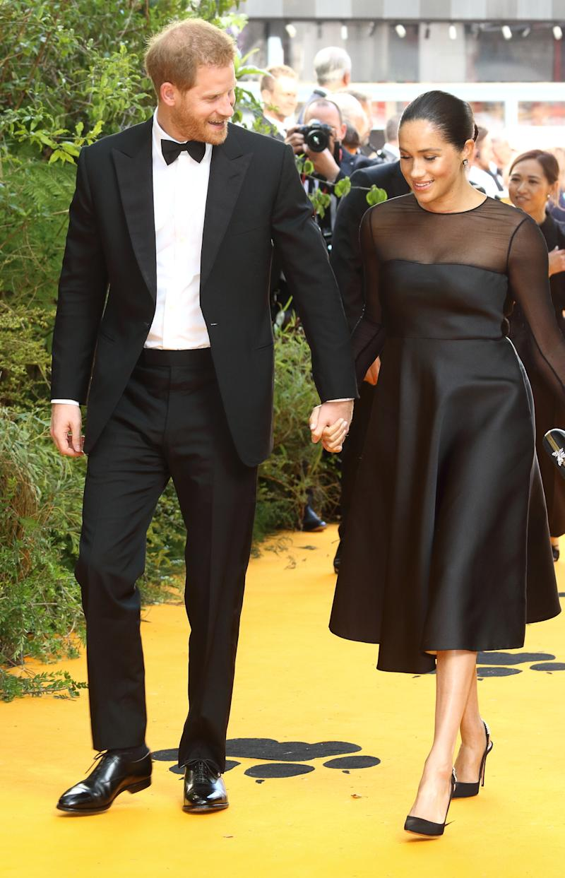 Prince Harry and Meghan Markle at the Lion King premiere