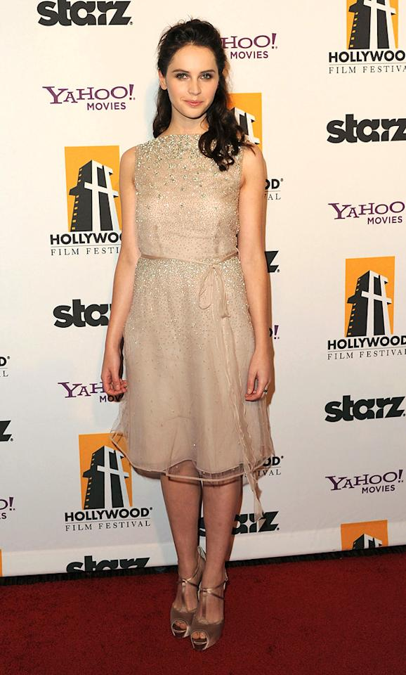 """<a href=""""http://movies.yahoo.com/movie/contributor/1804503608"""">Felicity Jones</a> at the 15th Annual Hollywood Film Awards in Beverly Hills, California on October 24, 2011."""