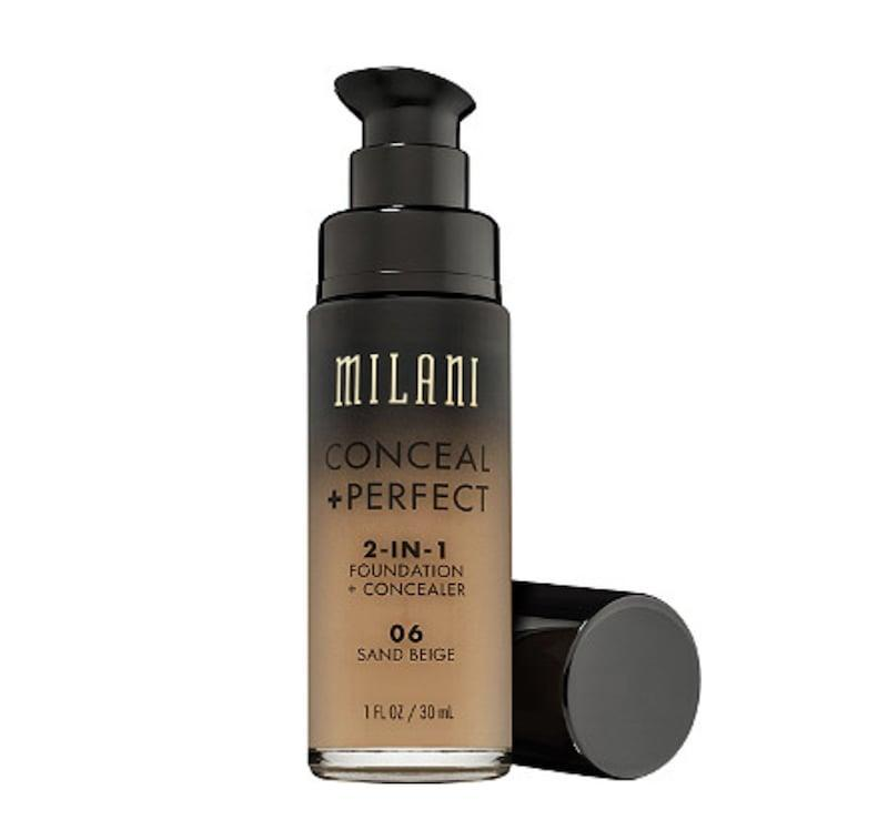 <p>The <span>Milani Conceal + Perfect 2-in-1 Foundation</span> ($9) is perfect for all skin types. The high-coverage foundation can also be used to treat spots and imperfections as a concealer. </p>