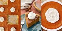 """<p>As much as it might seem like more of an American thing, us Brits also love ourselves a slice or two of <a href=""""https://www.delish.com/uk/cooking/recipes/a34723264/easy-homemade-pumpkin-pie-recipe-from-scratch/"""" rel=""""nofollow noopener"""" target=""""_blank"""" data-ylk=""""slk:pumpkin pie"""" class=""""link rapid-noclick-resp"""">pumpkin pie</a>. Especially if we've found ourselves with a bunch of leftover pumpkin from Halloween... With everything from <a href=""""https://www.delish.com/uk/cooking/recipes/a34723264/easy-homemade-pumpkin-pie-recipe-from-scratch/"""" rel=""""nofollow noopener"""" target=""""_blank"""" data-ylk=""""slk:Classic Pumpkin Pie"""" class=""""link rapid-noclick-resp"""">Classic Pumpkin Pie </a>to Pumpkin Pie Bars to <a href=""""https://www.delish.com/uk/cooking/recipes/a34200702/pumpkin-pie-energy-balls-recipe/"""" rel=""""nofollow noopener"""" target=""""_blank"""" data-ylk=""""slk:Pumpkin Pie Energy Balls"""" class=""""link rapid-noclick-resp"""">Pumpkin Pie Energy Balls</a> to choose from, it's no wonder why everyone loves it so much. Fancy trying your hand at some pumpkin pie making? We've got 10 top-notch <a href=""""https://www.delish.com/uk/cooking/recipes/g34191842/pumpkin-recipes/"""" rel=""""nofollow noopener"""" target=""""_blank"""" data-ylk=""""slk:pumpkin"""" class=""""link rapid-noclick-resp"""">pumpkin</a> pie recipes for you to choose from.</p>"""