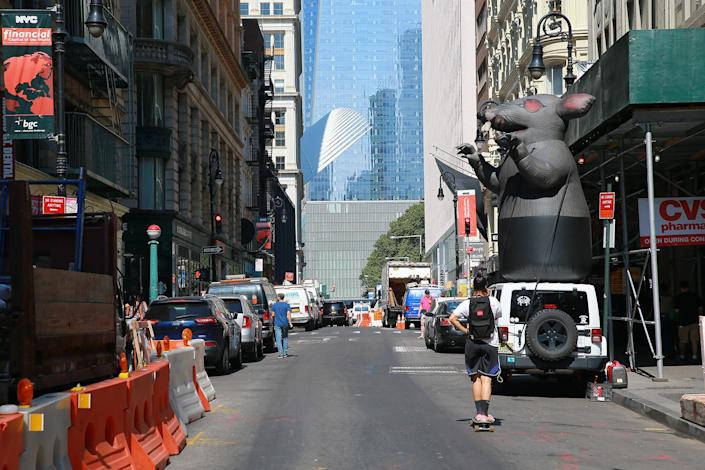 <p>Construction on Fulton Street just down the street from One World Trade Center, Aug. 29, 2016. (Gordon Donovan/Yahoo News) </p>