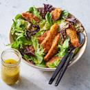 <p>Using everything bagel spice is a quick way to season and add extra crunch to breadcrumbs for chicken tenders. If you can't find any premixed, make your own by combining equal parts dried minced onion and garlic, poppy seeds, sesame seeds, salt and ground pepper (see Associated Recipes). This healthy chicken recipe tops a simple salad for an easy dinner that's ready in 25 minutes.</p>