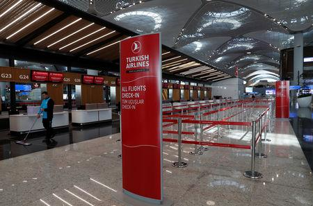 A Turkish Airlines counter is pictured at the departure terminal of the Istanbul International Airport in Istanbul