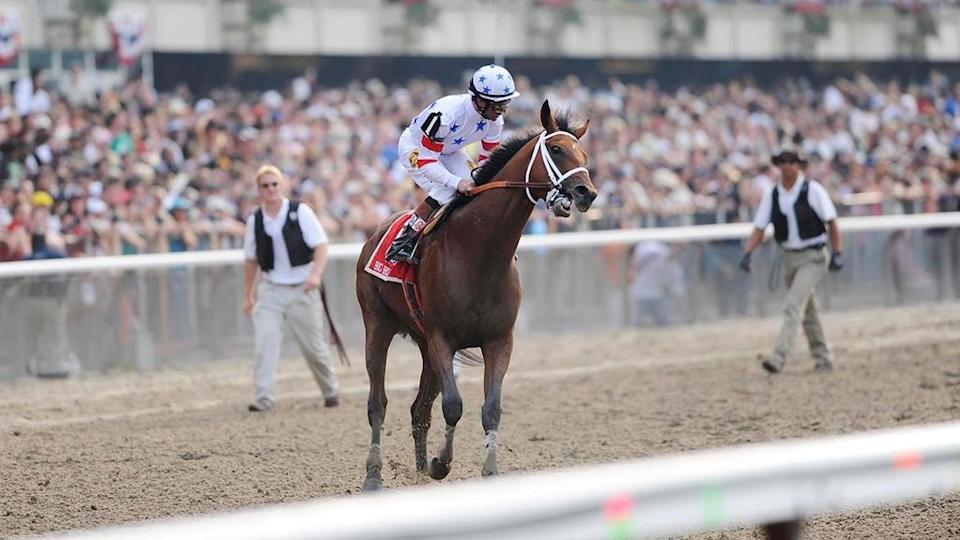 June 7, 2008; Elmont, NY, USA; Big Brown (1) ridden by Kent Desormeaux finishes 9th in the 140th Belmont Stakes after Big Brown was eased up on final stretch at Belmont Park. Da' Tara (6) ridden by Alan Garcia won the race.