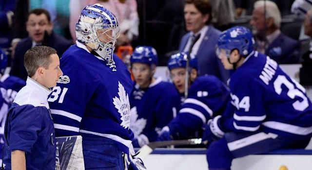 Toronto Maple Leafs netminder Frederik Andersen exits Saturday's win over the Pittsburgh Penguins THE CANADIAN PRESS/Frank Gunn