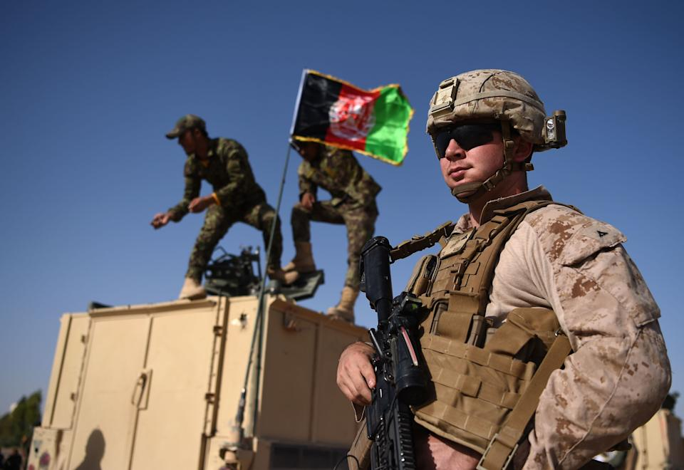 A U.S. Marine with Afghan National Army soldiers
