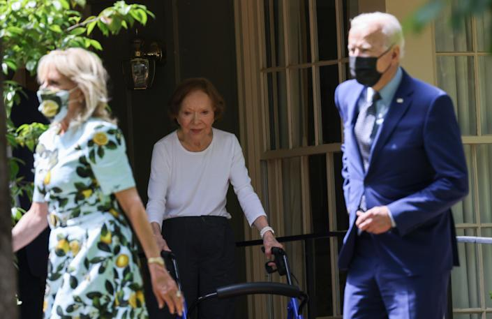 Jill and Joe Biden leave the home of Jimmy and Rosalynn Carter in Plains, Georgia on 29 April.REUTERS