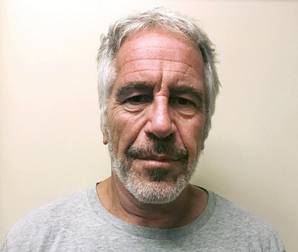 FILE - This March 28, 2017, file photo, provided by the New York State Sex Offender Registry, shows Jeffrey Epstein. Two correctional officers responsible for guarding Jeffrey Epstein the night before he took his own life are expected to face criminal charges this week for falsifying prison records. That's according to two people familiar with the matter. The federal charges could come as soon as Tuesday and are the first in connection with Epstein's death.. (New York State Sex Offender Registry via AP, File)