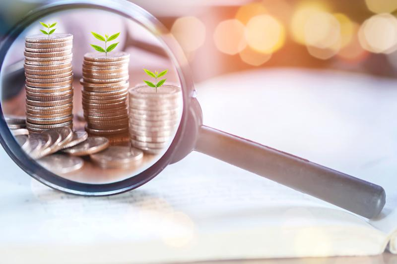 A magnifying glass showing stacks of coins with plants growing out of them.
