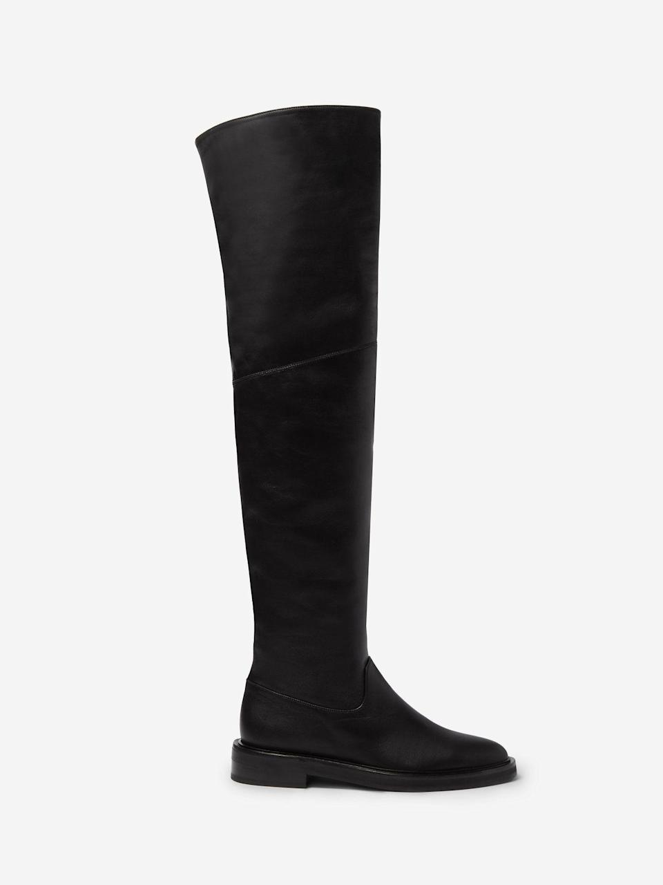 """<p><strong>Tamara Mellon </strong></p><p>tamaramellon.com</p><p><strong>$950.00</strong></p><p><a href=""""https://go.redirectingat.com?id=74968X1596630&url=https%3A%2F%2Fwww.tamaramellon.com%2Fproducts%2Ftempest-nappa-boots&sref=https%3A%2F%2Fwww.harpersbazaar.com%2Ffashion%2Fg34485018%2Fbest-wide-width-boots%2F"""" rel=""""nofollow noopener"""" target=""""_blank"""" data-ylk=""""slk:Shop Now"""" class=""""link rapid-noclick-resp"""">Shop Now</a></p><p>It's all about stretch when shopping for wide-width shoes. And the foot portion is generous when it comes to the Tempest over-knee boot from Tamara Mellon. This style will stretch a bit with wear. </p>"""