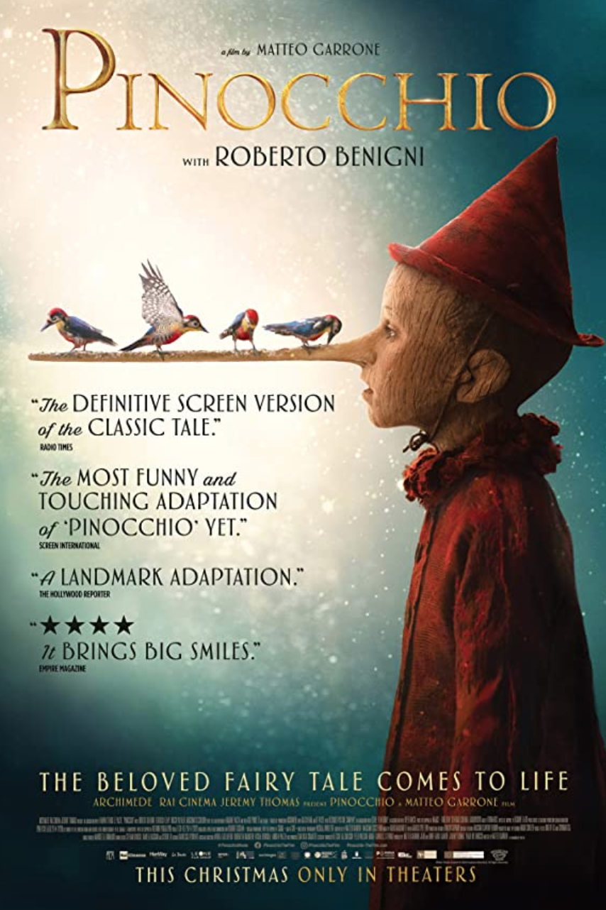 "<p>The classic children's tale is returning to the big screen once again. Italian actor <strong>Federico Ielapi</strong> stars as the beloved wooden puppet with dreams of becoming a real boy. Though the film <a href=""https://www.badtaste.it/interviste/pinocchio-paolo-del-brocco-sulluscita-a-natale-la-merita-e-il-film-per-famiglie-perfetto/"" rel=""nofollow noopener"" target=""_blank"" data-ylk=""slk:first premiered to Italian audiences"" class=""link rapid-noclick-resp"">first premiered to Italian audiences</a> last Christmas, it is only now hitting select theaters in the U.S. The 2019 film is <a href=""https://www.amazon.com/Pinocchio/dp/B08DT1C16G/ref=sr_1_1?dchild=1&keywords=pinocchio+2019&qid=1608579505&s=instant-video&sr=1-1-catcorr&tag=syn-yahoo-20&ascsubtag=%5Bartid%7C10055.g.35030712%5Bsrc%7Cyahoo-us"" rel=""nofollow noopener"" target=""_blank"" data-ylk=""slk:also available via DVD or Blu-Ray"" class=""link rapid-noclick-resp"">also available via DVD or Blu-Ray</a>.<strong><br></strong></p><p><strong>Rating:</strong> PG-13</p><p><strong>How to Watch:</strong></p><p><a class=""link rapid-noclick-resp"" href=""https://go.redirectingat.com?id=74968X1596630&url=https%3A%2F%2Fwww.fandango.com%2Fpinocchio-2020-223977%2Fmovie-times&sref=https%3A%2F%2Fwww.goodhousekeeping.com%2Flife%2Fentertainment%2Fg35030712%2Fmovies-coming-out-on-christmas-day-2020%2F"" rel=""nofollow noopener"" target=""_blank"" data-ylk=""slk:BUY THEATER TICKETS"">BUY THEATER TICKETS</a></p>"