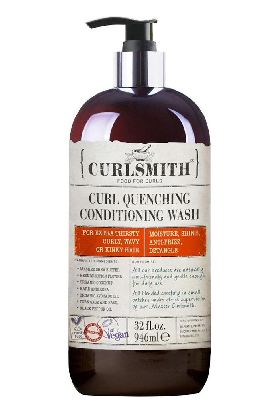 """<p><strong>Curlsmith</strong></p><p>ulta.com</p><p><strong>$56.00</strong></p><p><a href=""""https://go.redirectingat.com?id=74968X1596630&url=https%3A%2F%2Fwww.ulta.com%2Fcurl-quenching-conditioning-wash%3FproductId%3DxlsImpprod17391105&sref=https%3A%2F%2Fwww.cosmopolitan.com%2Fstyle-beauty%2Fbeauty%2Fg33473200%2Fbest-organic-hair-products%2F"""" rel=""""nofollow noopener"""" target=""""_blank"""" data-ylk=""""slk:Shop Now"""" class=""""link rapid-noclick-resp"""">Shop Now</a></p><p>This organic <a href=""""https://www.cosmopolitan.com/style-beauty/beauty/news/a56230/co-washing-benefits/"""" rel=""""nofollow noopener"""" target=""""_blank"""" data-ylk=""""slk:co-wash"""" class=""""link rapid-noclick-resp"""">co-wash</a> is ideal for super-dry waves, curls, and coils. <strong>It doesn't lather at all (but DW, it still gently cleanses your hair and dissolves build-up)</strong> and contains a moisturizing cocktail of organic avocado oil, coconut oil, and shea butter to add softness and smoothness. </p>"""