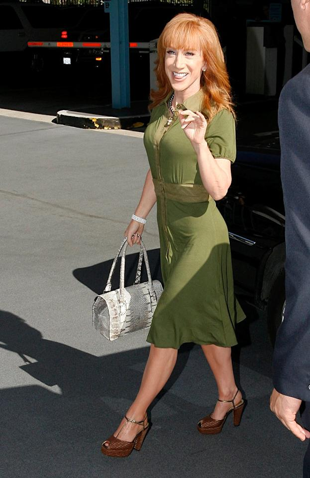 "Funny lady Kathy Griffin, who's a frequent guest on Larry King's show, gave a little wave to the cameras in a polished ensemble. Does she look hot or not? MVP/<a href=""http://www.x17online.com"" target=""new"">X17 Online</a> - June 21, 2010"