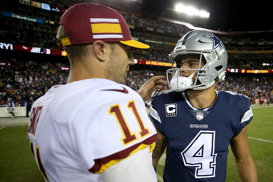 Former Washington QB Alex Smith (11) and Cowboys star Dak Prescott only competed head-to-head as NFC East rivals once, a Dallas loss at FedEx Field on Oct. 21, 2018.
