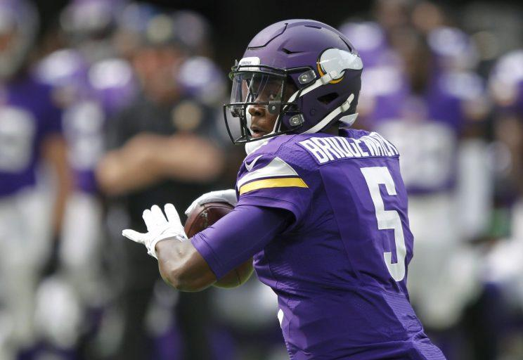 Teddy Bridgewater was taking snaps and throwing in the Vikings' OTAs on Tuesday. (AP)