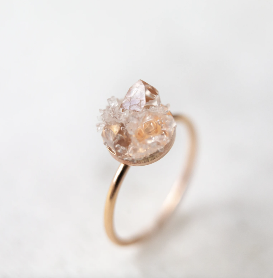 light pink Raw Diamond Ring with yellow gold band