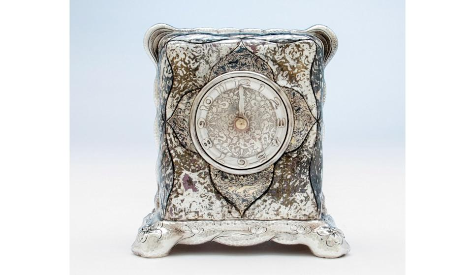 Tiffany & Co. Antique Sterling Silver and Mixed-metals Mantel Clock, c. 1880.