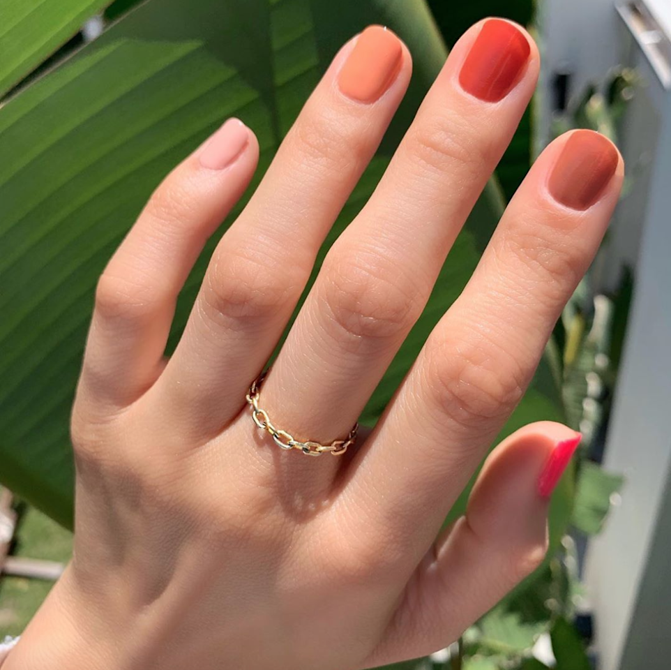 "<a href=""https://www.glamour.com/story/rainbow-nails?mbid=synd_yahoo_rss"">No wonder gradient nails are so huge this year</a>—not only are they crazy easy to do, they're so much more fun than a single color."