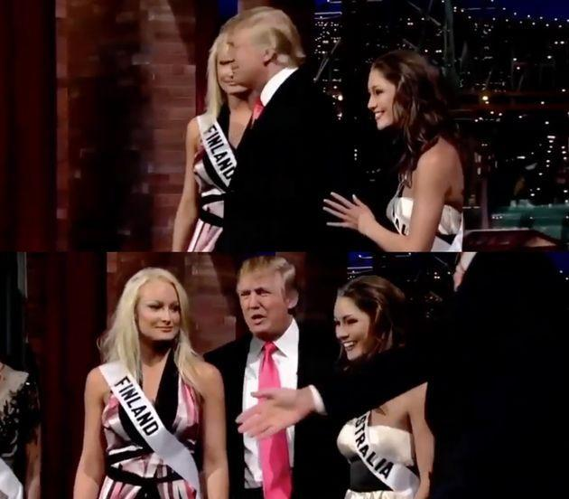 Erin McNaught (above right) said she was hand-picked by Trump to appear on the David Letterman show in 2006.