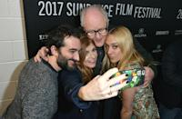 <p>The cast of 'Beatriz at Dinner' takes a selfie at the premiere. (Photo: George Pimentel/Getty Images) </p>