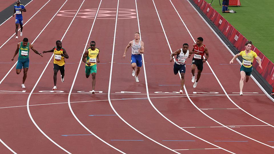 Rohan Browning, pictured here qualifying fifth-fastest for the 100m semi-finals.