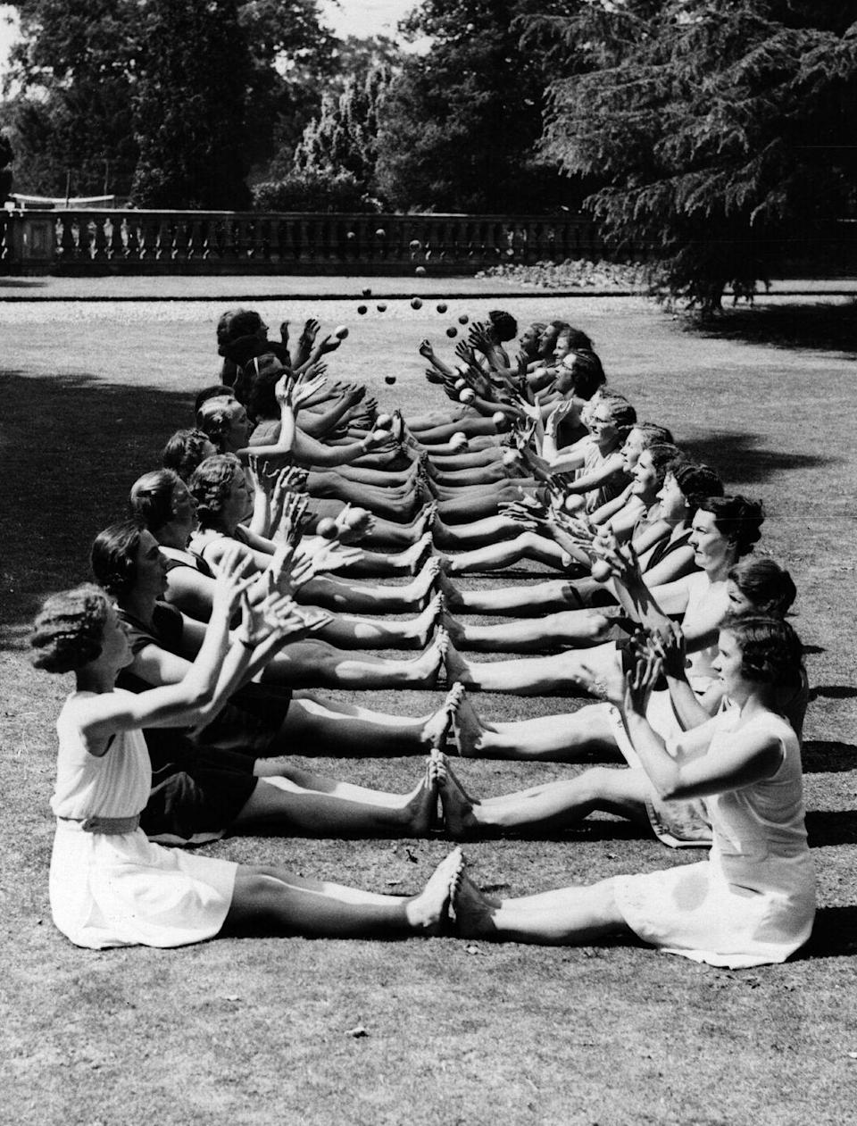 <p>Keep Fit was part of a large national fitness initiative in England. This photo shows a group of women training to become Keep Fit leaders at Milton Mount College in Crawley.<br></p>