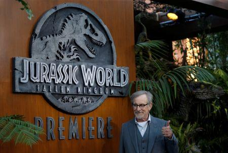 """Executive producer Steven Spielberg poses at the premiere of the movie """"Jurassic World: Fallen Kingdom"""" at Walt Disney Concert Hall in Los Angeles, California, U.S., June 12, 2018. REUTERS/Mario Anzuoni"""