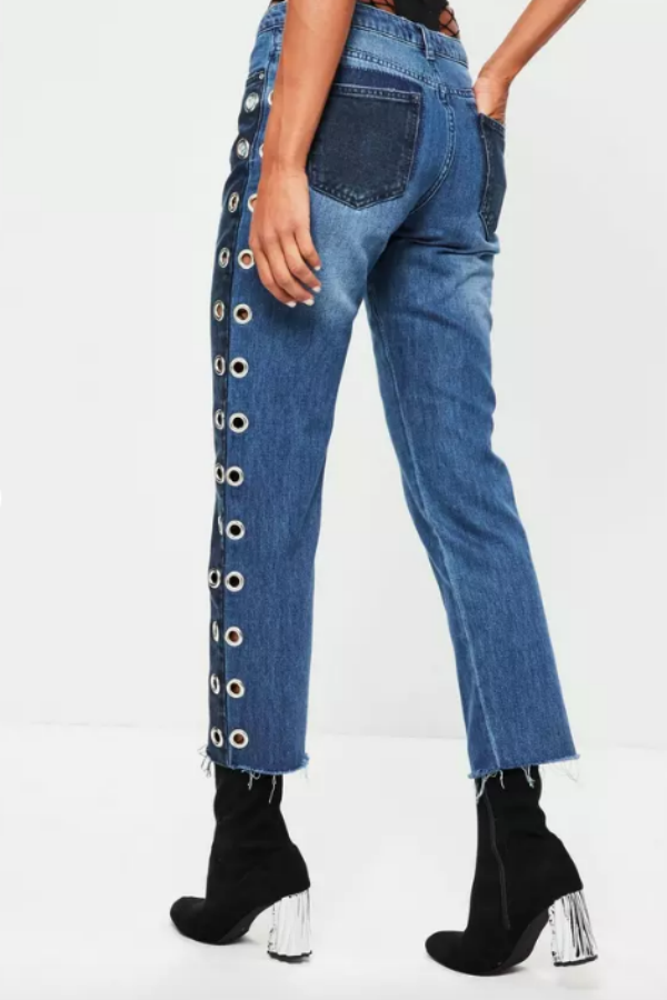 """<p>Misguided blue mid rise eyelet straight leg jeans, $72, <a rel=""""nofollow"""" href=""""https://www.missguidedus.com/blue-mid-rise-eyelet-detail-straight-leg-jeans?mbid=synd_yahoostyle"""">misguided.com</a></p>"""