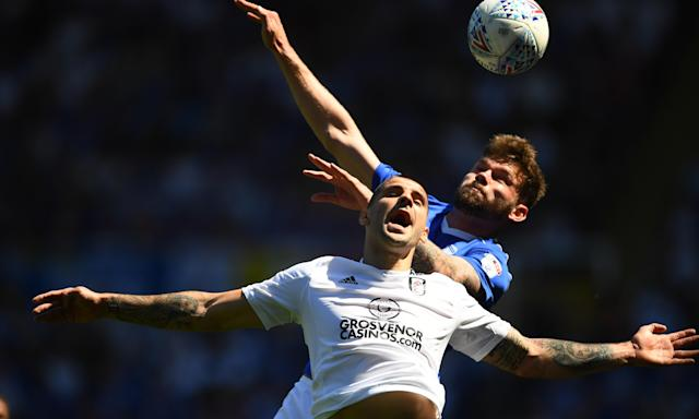 Aleksander Mitrovic is challenged by Harlee Dean of Birmingham City as Fulham failed to secure automatic promotion