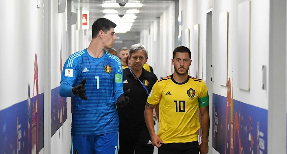 Chelsea's Thibaut Courtois, left, and Eden Hazard have been vital cogs in Belgium reaching the World Cup semifinals. (Getty)