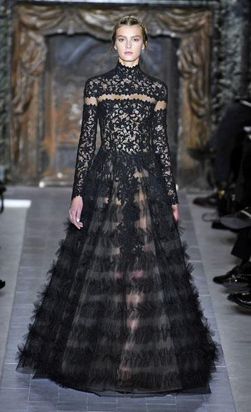 <b>Valentino SS13 </b><br><br>Black lace was a key trend on the Valentino Haute Couture catwalk.<br><br>© Rex
