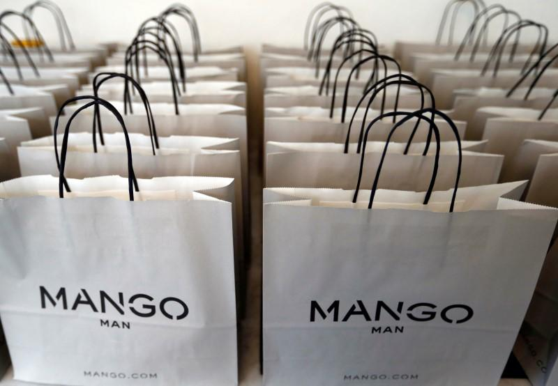 Bags are displayed before the Spanish retailer Mango fashion show in Paris