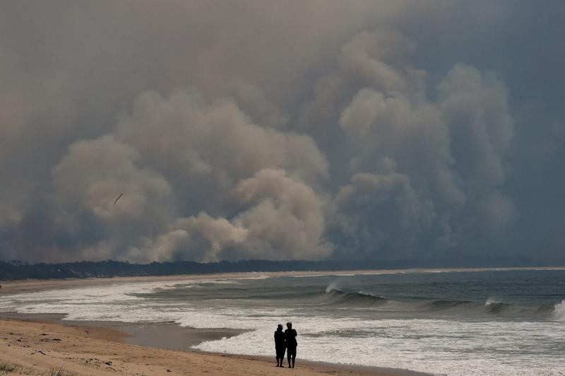 Smoke from nearby bushfires fills the sky over Diamond Beach on the Mid North Coast of NSW.