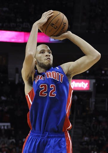Detroit Pistons' Tayshaun Prince takes a shot in the first half of an NBA basketball game against the Houston Rockets on Saturday, Nov. 10, 2012, in Houston. (AP Photo/Pat Sullivan)