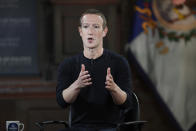 """FILE - In this Thursday, Oct. 17, 2019, file photo, Facebook CEO Mark Zuckerberg speaks at Georgetown University, in Washington. Florida lawmakers, including Gov. Ron DeSantis, intensified their battle with Facebook, Twitter and Silicon Valley when they announced new proposals Tuesday, Feb. 2, 2021, aimed at reigning in platforms they accuse of squelching the free speech of conservatives. On a call with analysts the week before, Zuckerberg said the social media giant was attempting to """"turn down the temperature and discourage divisive conversations and communities."""" (AP Photo/Nick Wass, File)"""